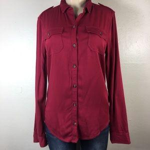 Hollister red button down shirt size medium
